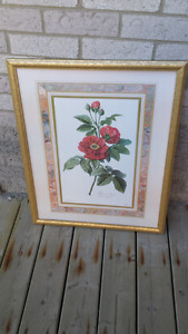 Large floral picture with frame.