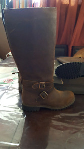 Timberland leather brown boots wide calf size 8.5