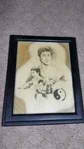 Bruce Lee sketch framed.