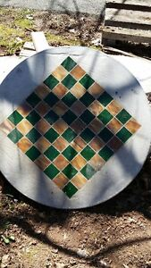 Concrete stained glass checker table