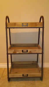 Three tier stand, black and wood