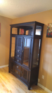Buffet and hutch black with display lighting