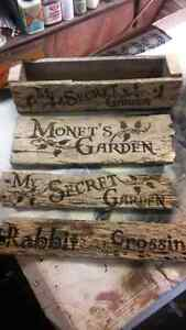 Custom Garden Signs and planter boxes
