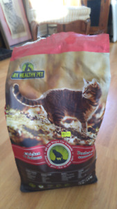 Cat food (2 bags) and toy