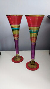 Hand painted champagne flutes hot pink blue gold