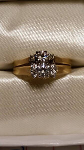 wedding set 14K.....real diamonds    sizes 7 and 6 3/4