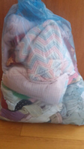 Girl baby clothes 0 to 18 months and blankets and crib set as Ne
