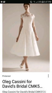 Oleg Cassini off-white tea length dress: size 8 + fascinator