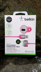 iPhone charging cable and car charger from Belkin
