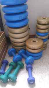 Plastic weights and dumbells