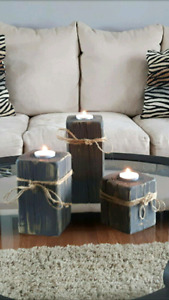 3 rustic tealight candle holders