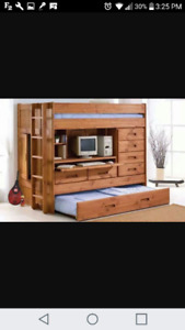 Loft bed with built in drawers and desk.