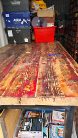 Large metal and wood rustic table