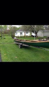 Caissie built canoe, motor and trailer for sale