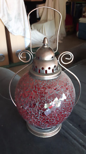 Lantern: Crimson Glass and Metal