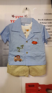 Baby 3pieces shirt and short set