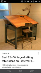Vintage wooden draft table $150