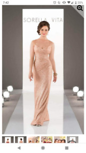 Floor length Sequin Bridesmaid Prom Dress - Rose Gold Like New