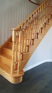 Oak posts, railing and balusters