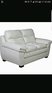 2 love seats and matching chair cream bonded leather