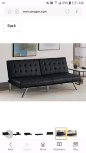 Faux black leather sofa bed