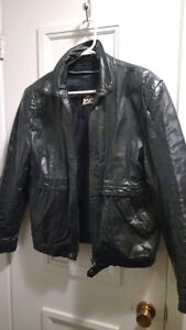 Woman black leather jacket