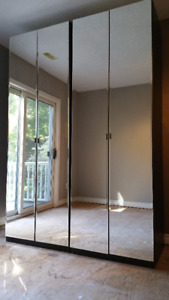 Two IKEA Pax Wardrobes with Vikedal mirrored doors