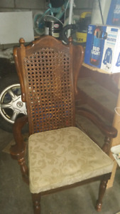 Antique dining chairs high back wicker and solid wood
