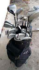 Assorted full set of golf clubs and bag