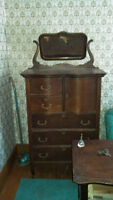 Antique dressers, tables, chairs, household contents