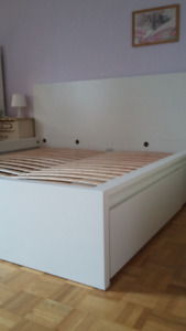 KING Malm bed frame, high, white with 2 storage boxes
