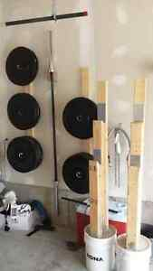 Olympic Weight set (bumper) + Heavy duty adjustable bench London Ontario image 1
