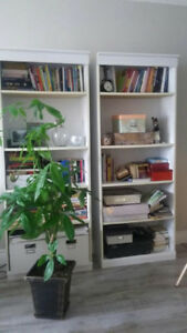2 white bookshelves