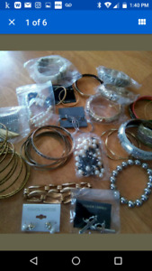 Assortment of earrings and bracelets some new