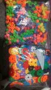 Two large freezer bags of educational building toys