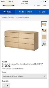 Stained oak malm ikea 6 drawer dresser with glass top