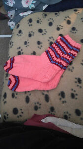 Hand knitted womens socks.