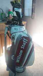 MacGregor left hand golf clubs and bag