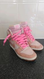 Nike sky hi woman's pink trainers size 4.5 uk