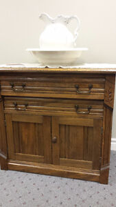 Antique Oak East Lake Washstand - Good Condition