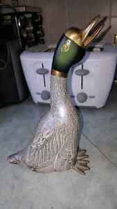 Beautiful tall painted brass Duck sculpture from India