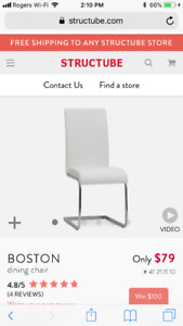 Structube Boston white dining chairs