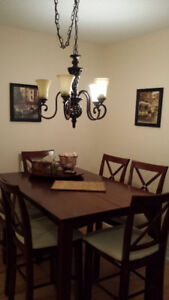 Solid Wood Bar Height  Dining Table and 8 chairs