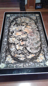 Asian black lacquer table / peacock / deer