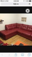Red Leather sectional sofa couch
