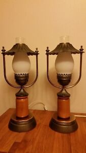 Vintage Hurricane Style Table Lamps Set of 2