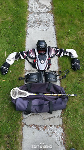 full set of lacrosse gear with stick