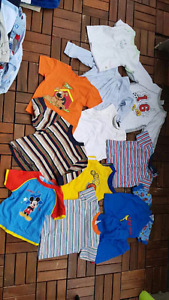 Lot of 70+ pieces baby boy clothes size 3m-24m and head supports