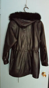 Leather coat - fur-lined with fox-trim hood