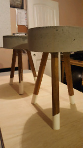 Modern concrete milking stools/plant stand